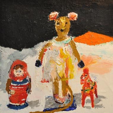 Christina Frendin, Musdocka, babusjka och häst, olja på duk