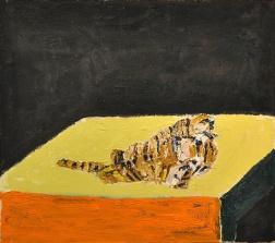 Christina Frendin, Tiger - svart, orange, olja på duk