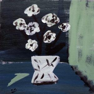 Blommor i vas, 2006, målning
