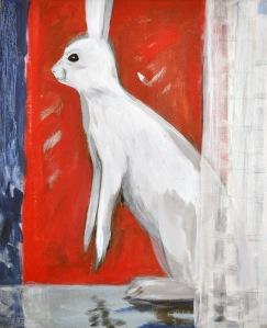 Vit hare, målning